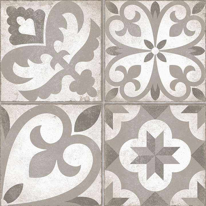 Combi Gris 30x30. Vintage style patterned floor tile.