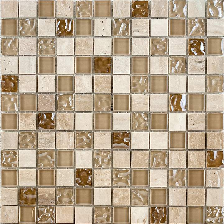 Cream Marble and Bubble Gloss 30x30. Mosaic tile.