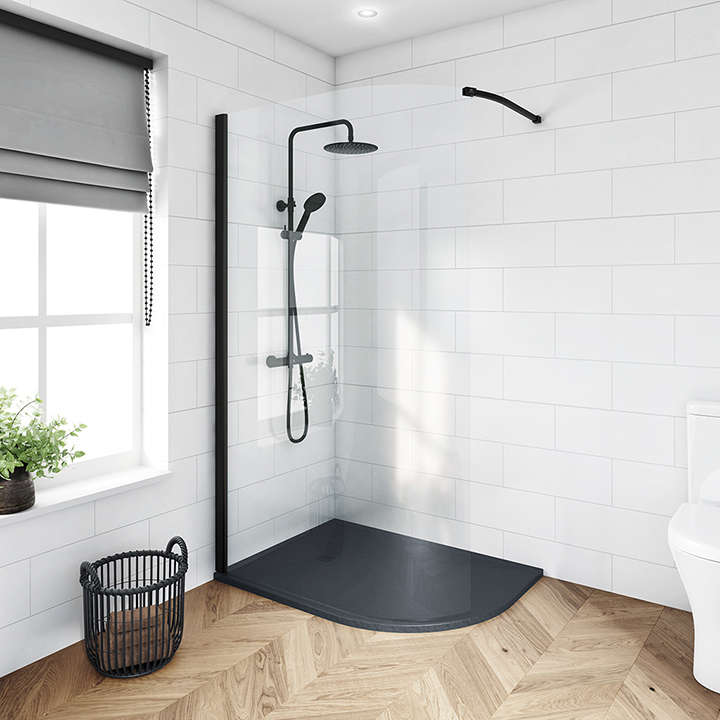 Curved wetroom panels - Black