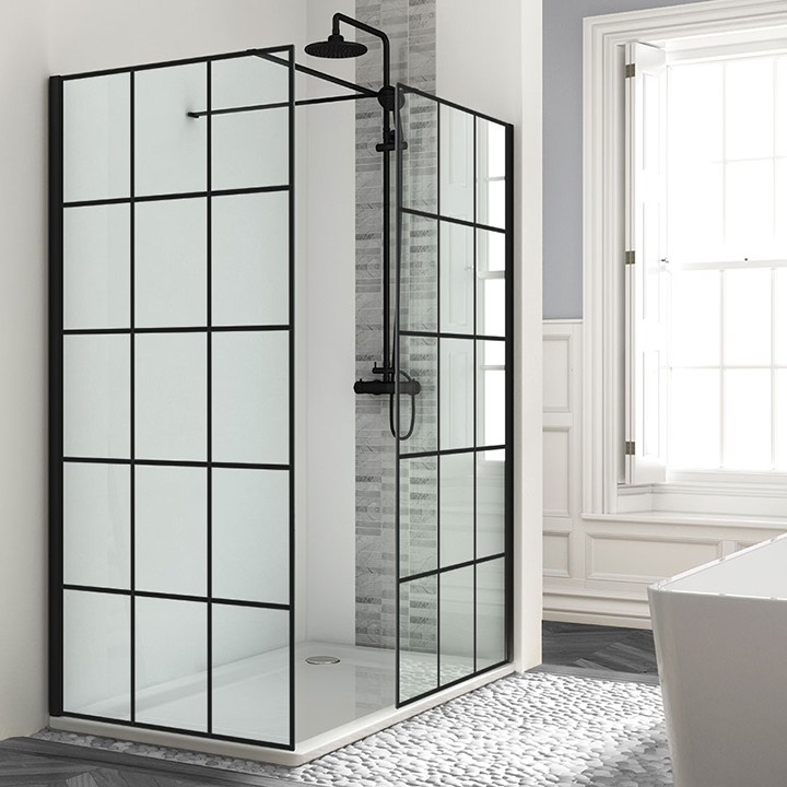 Framed effect front and side wetroom panels - Black