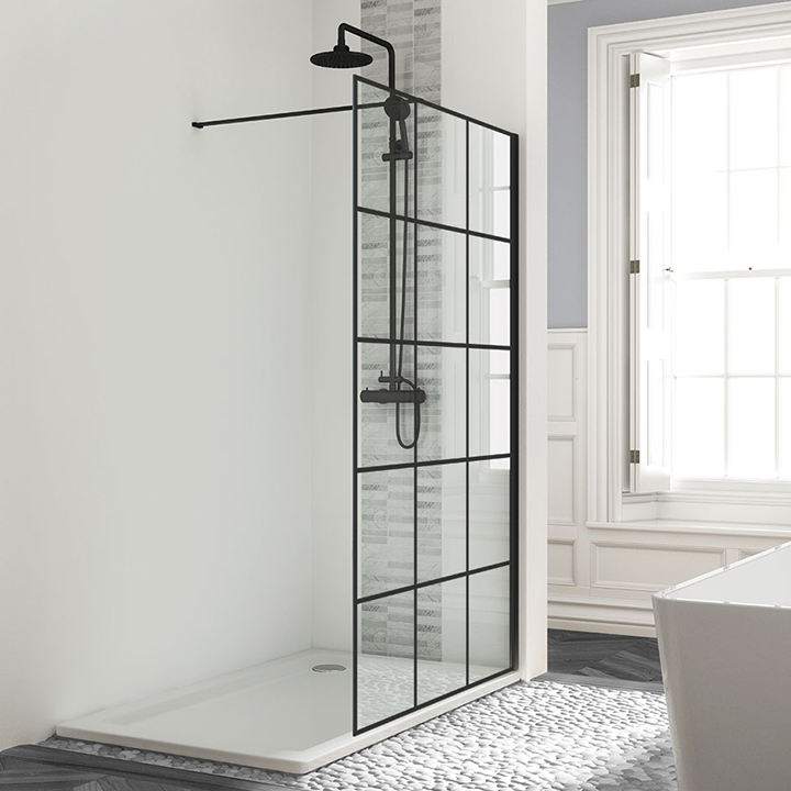 Framed effect wetroom panels - Black