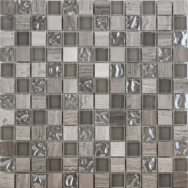 Grey Marble and Bubble Gloss 30x30. Mosaic tile.