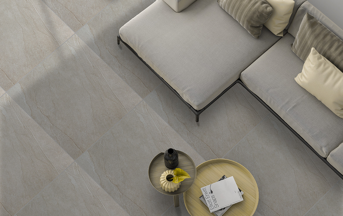 Halley Mud 60x60. Living room floor design.