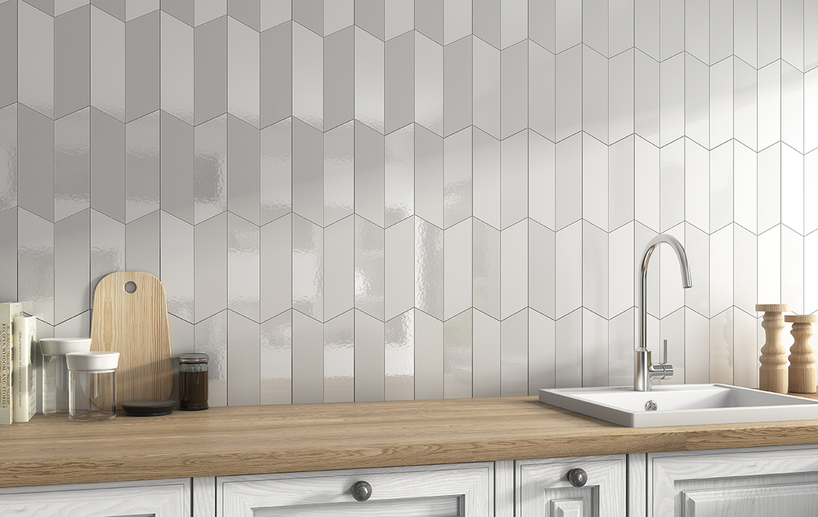 Lloyd White Matt and Gloss 5x20. Creative kitchen backsplash design with chevron wall tiles.
