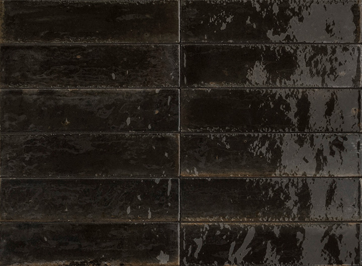 Lume Black 6x24. Brick shape handmade effect high-glossy wall and floor tile.