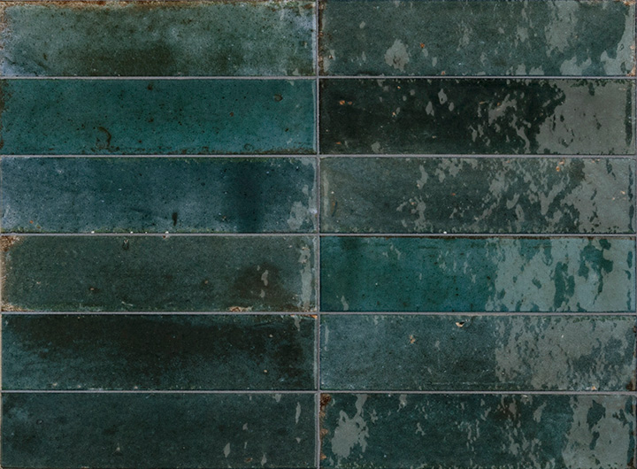 Lume Blue 6x24. Brick shape handmade effect high-glossy wall and floor tile.