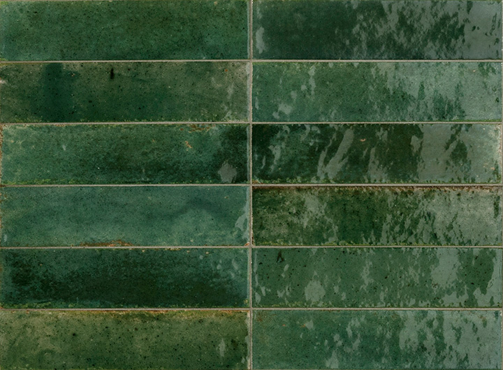 Lume Green 6x24. Brick shape handmade effect high-glossy wall and floor tile.