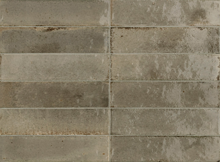 Lume Greige 6x24. Brick shape handmade effect high-glossy wall and floor tile.