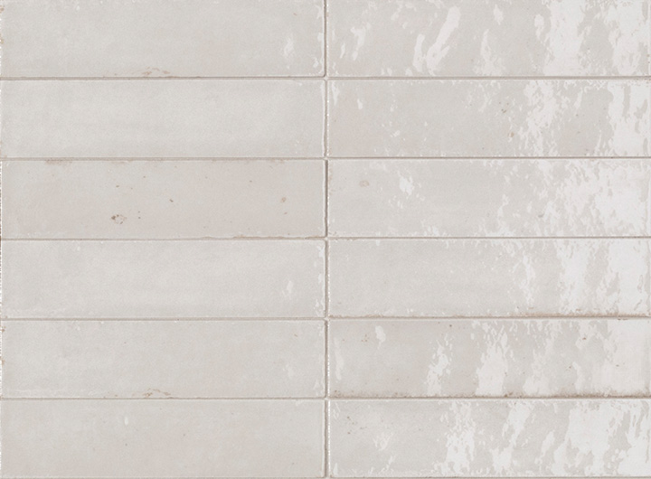 Lume White 6x24. Brick shape handmade effect high-glossy wall and floor tile.