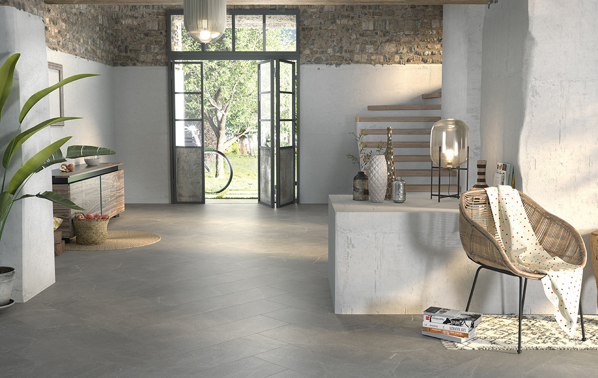 Floor: Madison Argent 60x60. Irish country style living room interior design with stone look porcelain tiles.