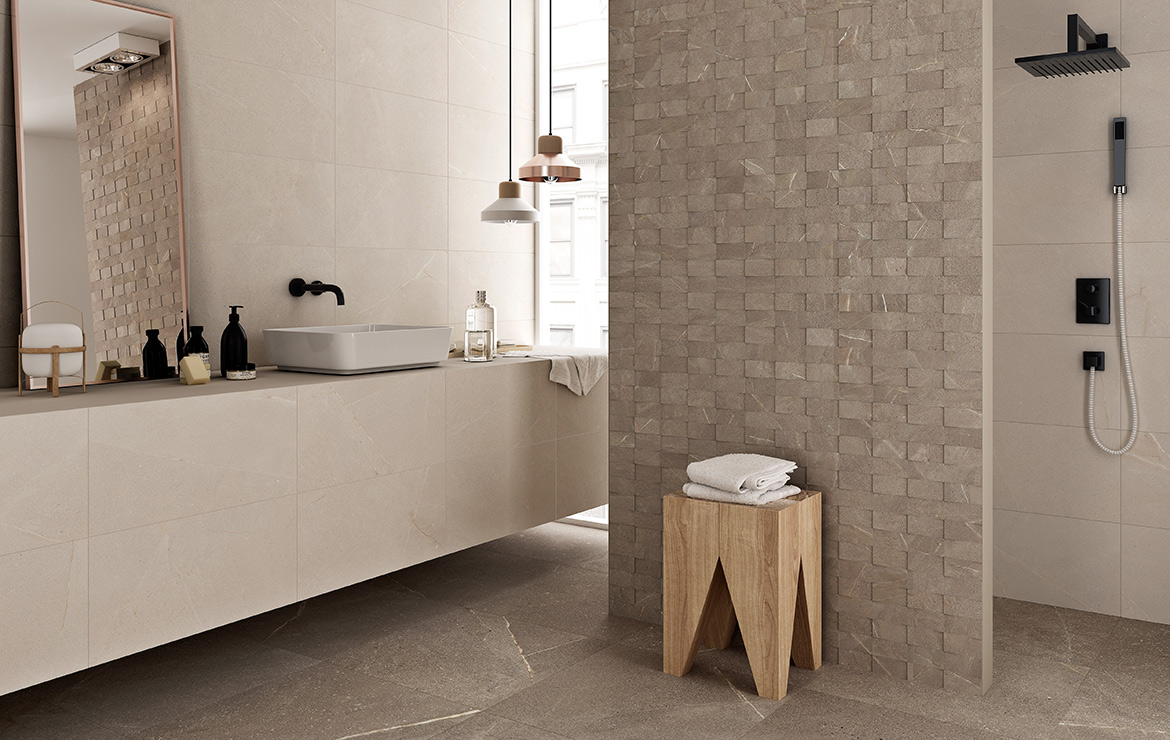 Wall: Madison Bone and Top Noce 30x60. Floor: Madison Noce 60x60. Modern style bathroom interior design with stone look porcelain tiles.