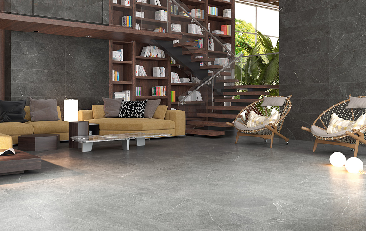 Wall: Madison Grafito 30x60. Floor: Madison Argent 60x60. Modern style living room interior design with stone look porcelain tiles.