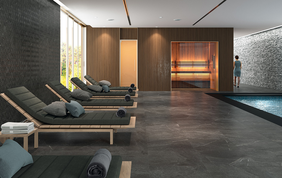 Wall: Top Grafito 30x60. Floor: Madison Grafito 60x60. Wellness centre / SPA swimming pool interior design with stone look porcelain tiles.