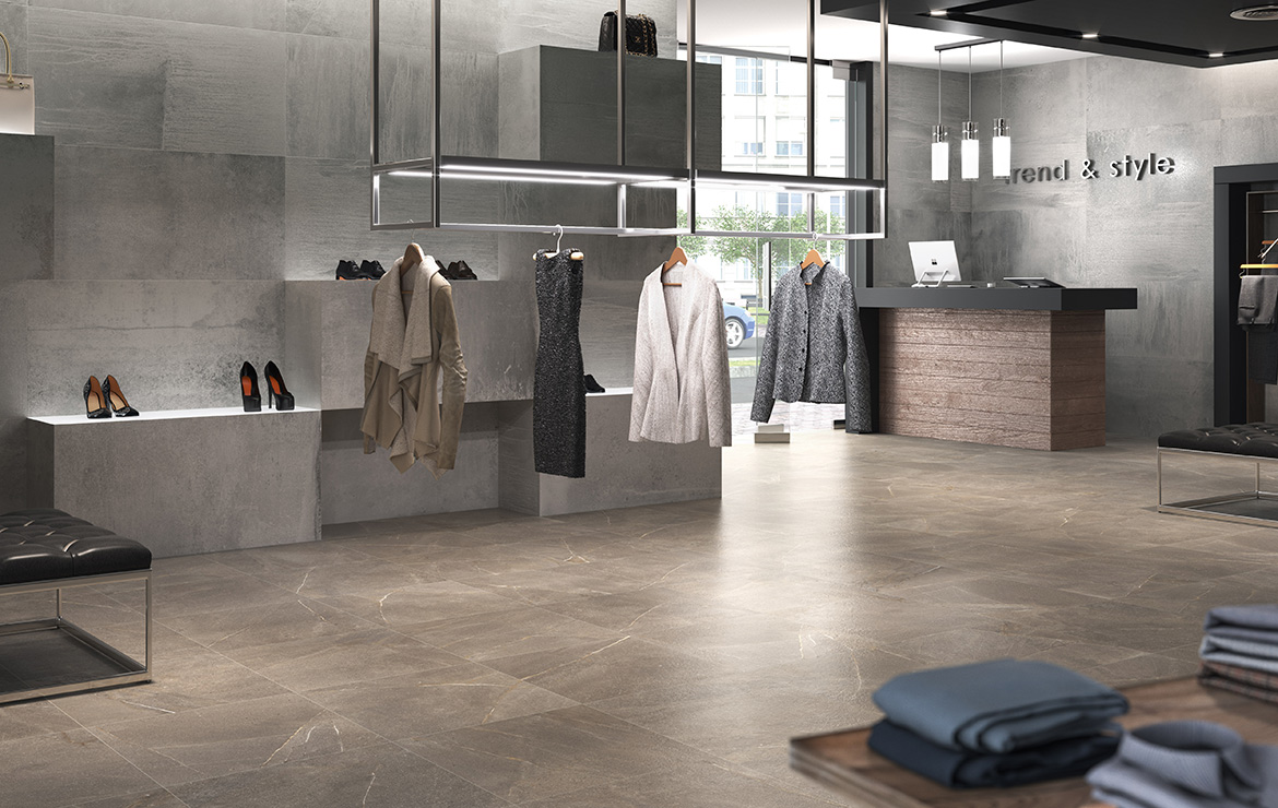 Floor: Madison Noce 60x60. Stylish boutique interior design with stone look porcelain tiles.