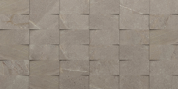 Madison Top Noce 30x60. Stone look 3D mosaic effect porcelain decorative wall tile.