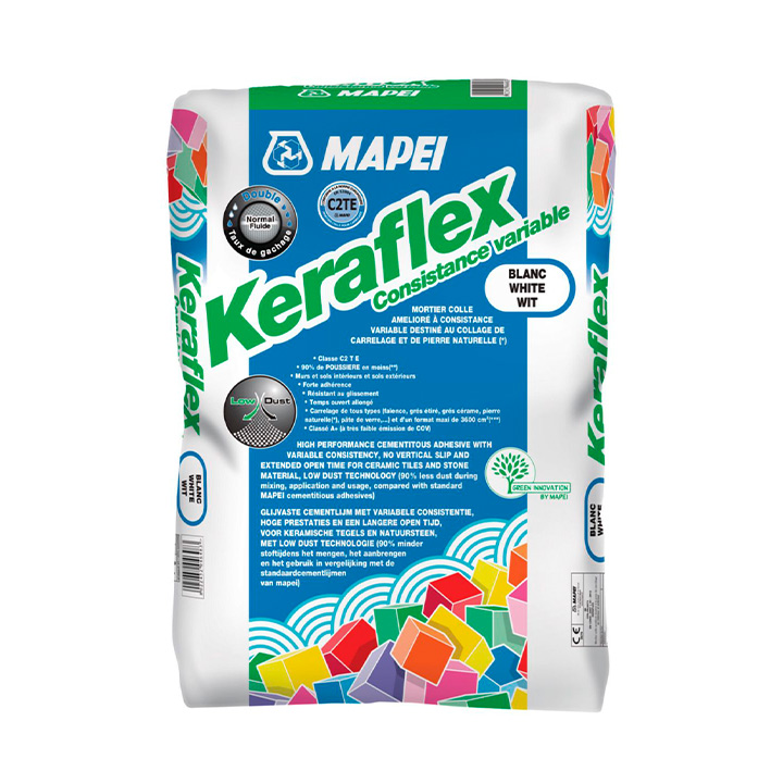 Mapei Ireland tile fixing solutions. Keraflex White - long open tile cement based tile adhesive.