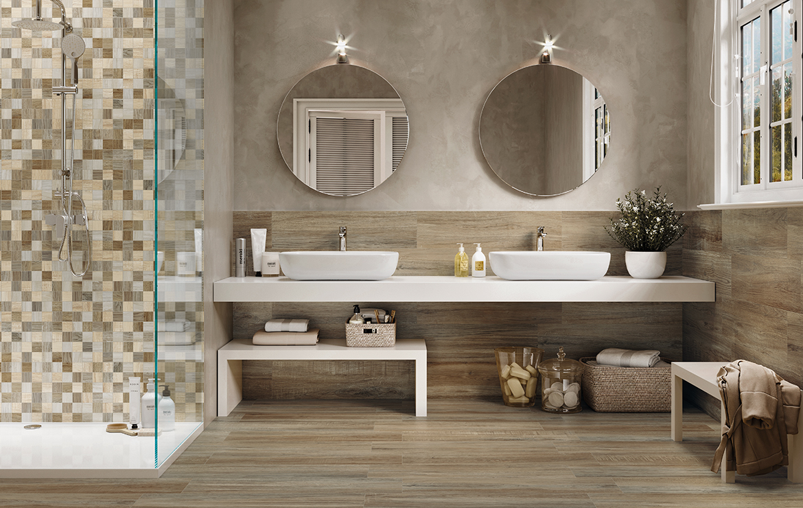Country style bathroom interior design with rustic wood-look porcelain wall and floor tiles - Mistral Cedar 22x84.