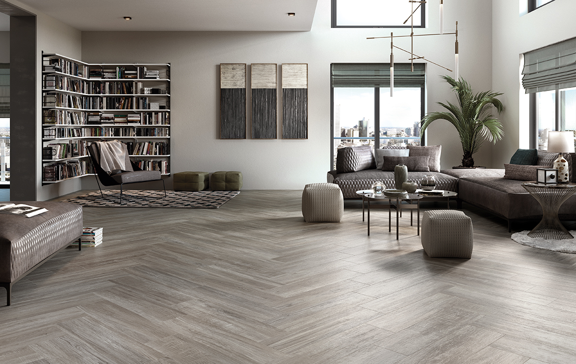 Stylish living room interior design with rustic wood-look porcelain wall and floor tiles - Mistral Olive 22x84.