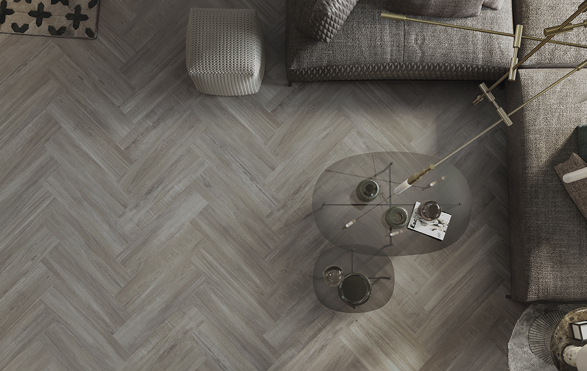 Stylish floor design with rustic wood-look porcelain wall and floor tiles - Mistral Olive 22x84.