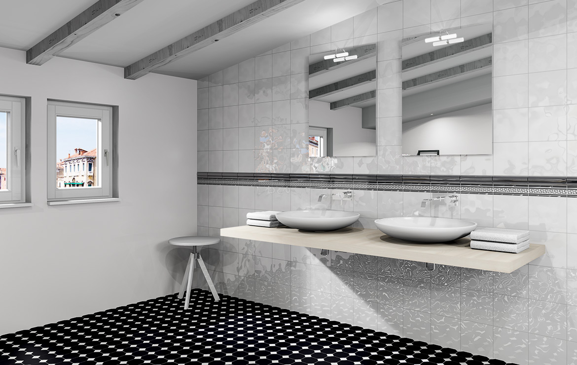Small classic style attic bathroom interior design with white bumpy glossy tiles 20x20 and octagonal black and white floor mosaic tiles