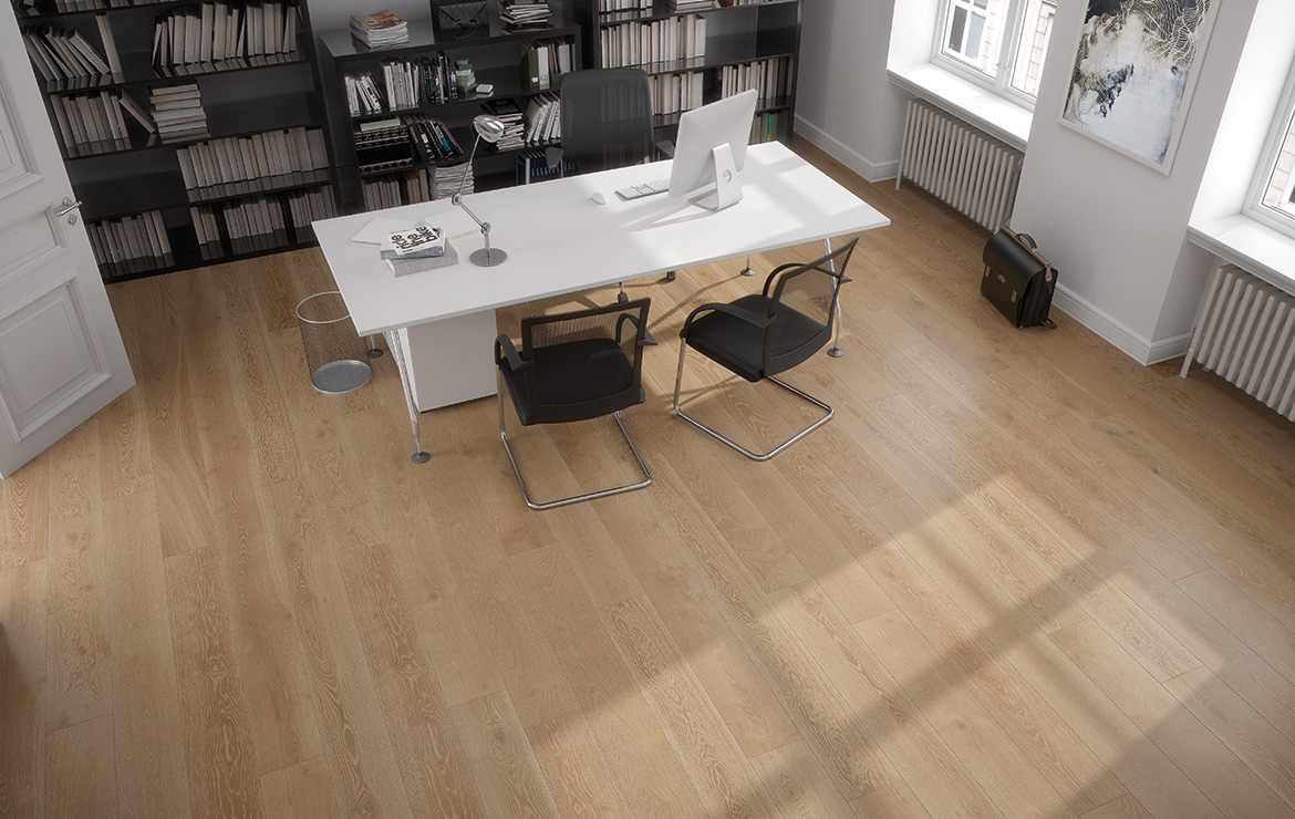 Home office interior design with oak wood look porcelain floor tiles - Rovere Nature 22.6x90.
