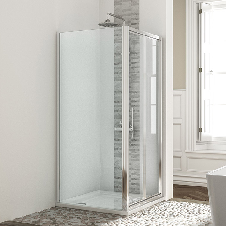Shower enclosure - Bi-fold with side panel