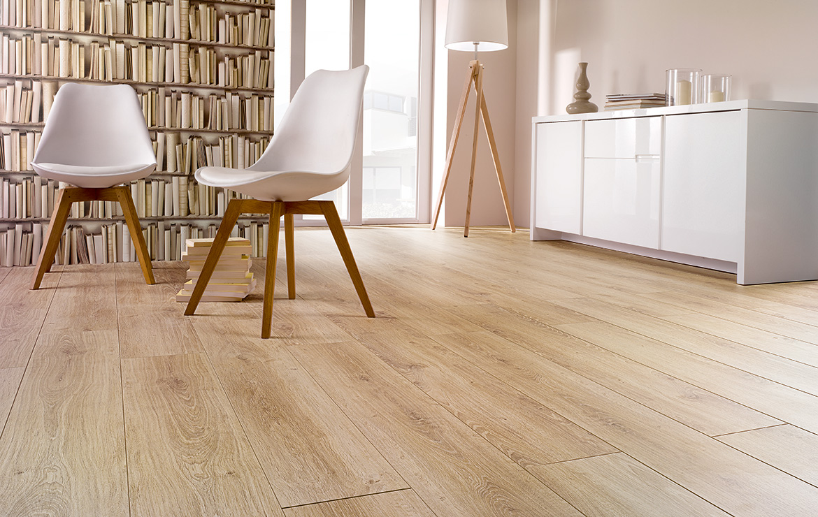 Modern living room interior design. Luxury apartment Dublin. 12mm wood look laminate flooring with the highest abrasion resistance rating AC6 - Solid Victory Oak.