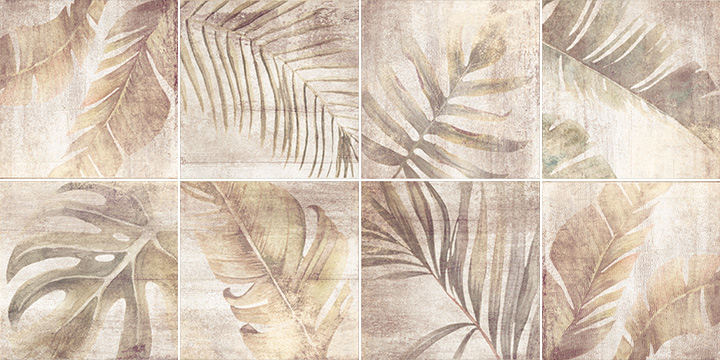 Sospiro Boreal Taupe 20x20. Plant leaf patterned decor tiles.