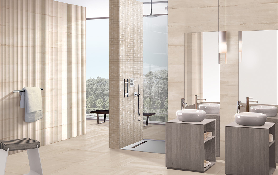 Modern style bathroom interior design with shaded and patterned wall and floor tiles - Sospiro Vento Taupe.