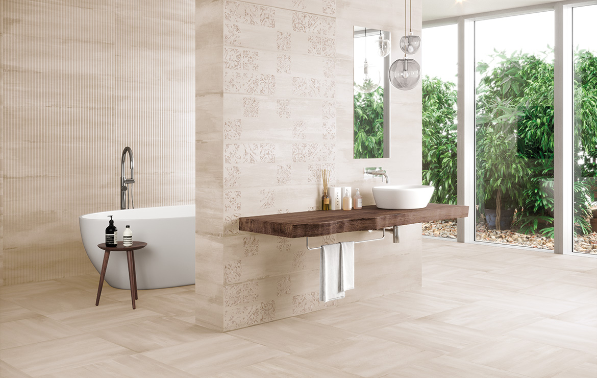 Modern style bathroom interior design with monocolour wall and floor tiles and patterned decors - Sospiro Artisan Taupe.