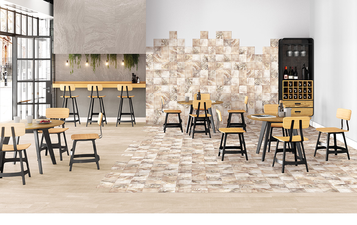 Modern style caffe bar interior design with shaded and patterned wall and floor tiles - Sospiro Boreal Bind Taupe.
