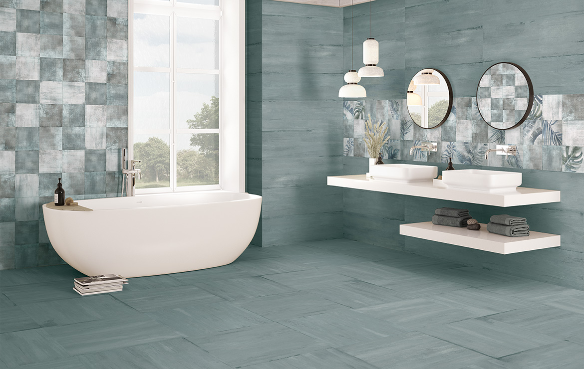 Modern style bathroom interior design with shaded and patterned wall and floor tiles - Sospiro Ocean Boreal Bind White.