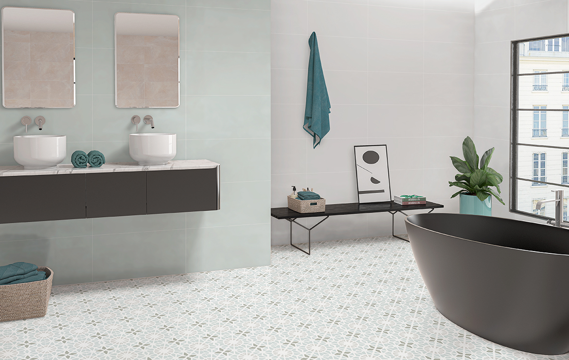 Sweet green Sea 30x60. Adele Green Sea 45x45. Bathroom interior design with patterned floor tiles.