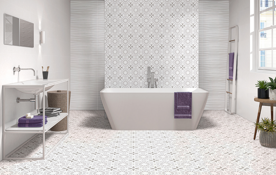 Sweet White, White Wavy 30x60. Adele Cloud Grey 45x45. Bathroom interior design with patterned floor tiles.