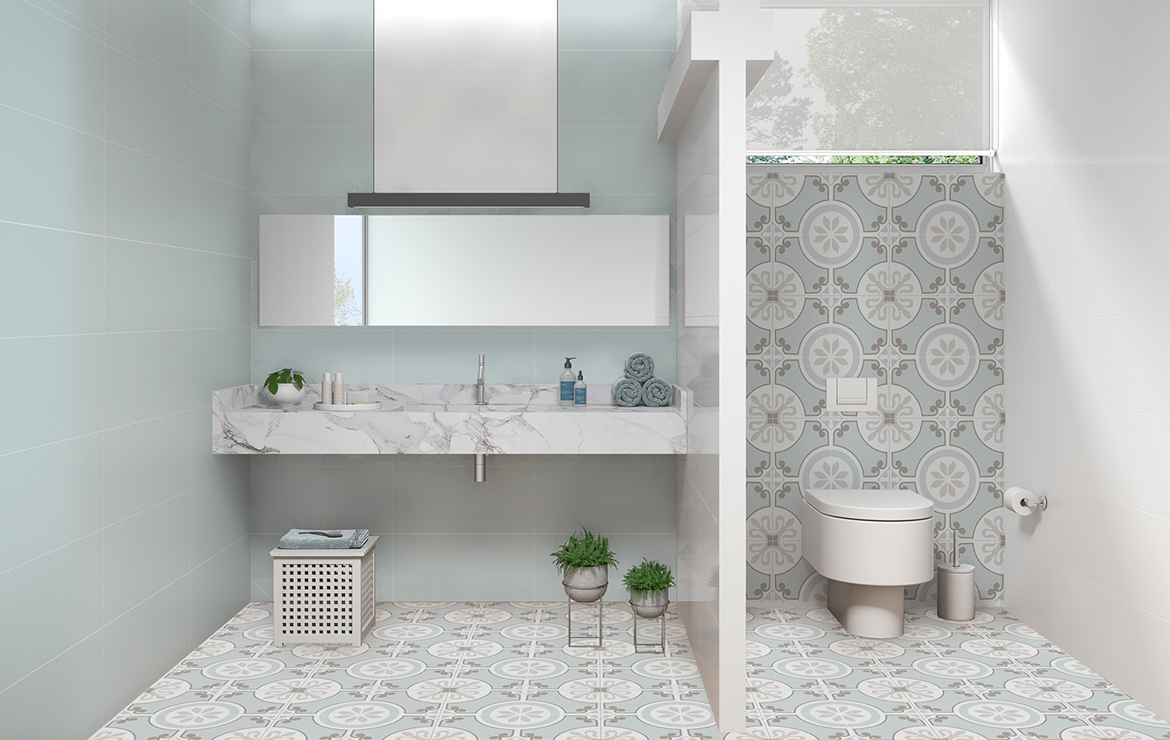 Sweet Green Sea 30x60. Bathroom interior design with patterned floor tiles.