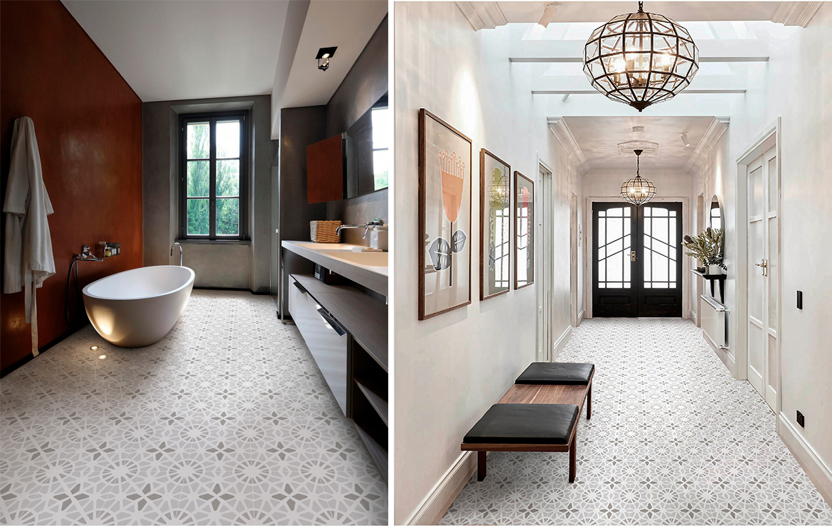 Adele Cloud Grey 45x45. Bathroom and hallway floor design with patterned tiles.