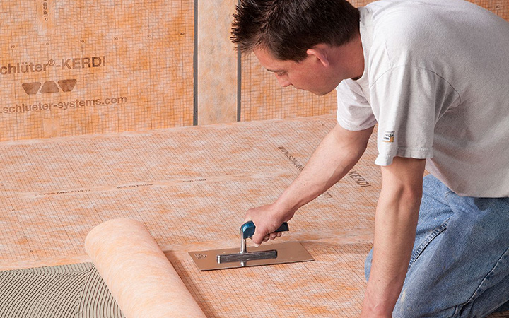 Schluter Systems in Ireland tile accessories. Kerdi waterproofing membrane for wet rooms and bathrooms.