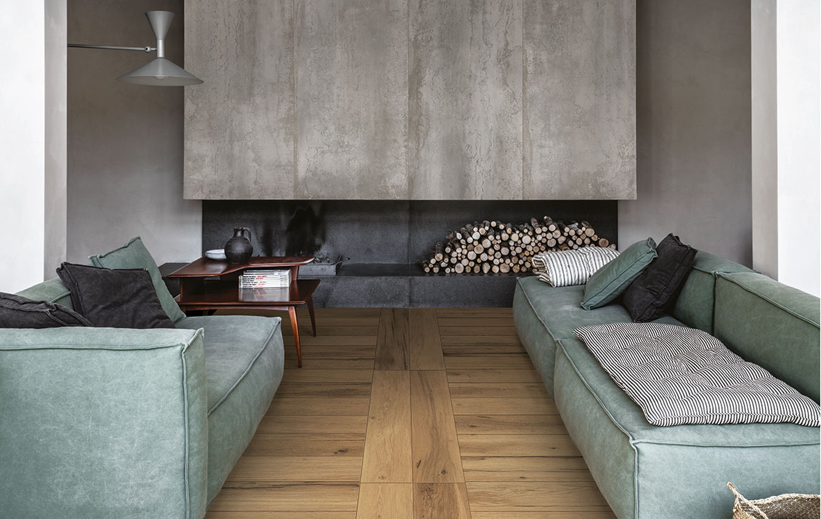 Nordic style living room interior design with extra long plank rustic wood look porcelain tiles Treverklife Honey 20x120.