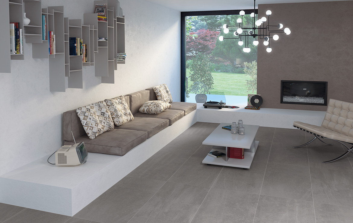 Modern style small living room interior design with concrete look porcelain tiles - Uptown Hamilton 45x90.