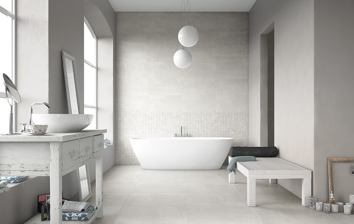 Vintage style bathroom interior design with concrete look porcelain tiles - Uptown Sugar Hill 45x90.
