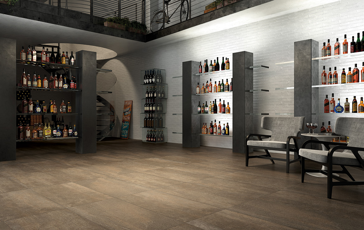 Old style winery interior design with concrete look porcelain tiles - Uptown Hudson 45x90.