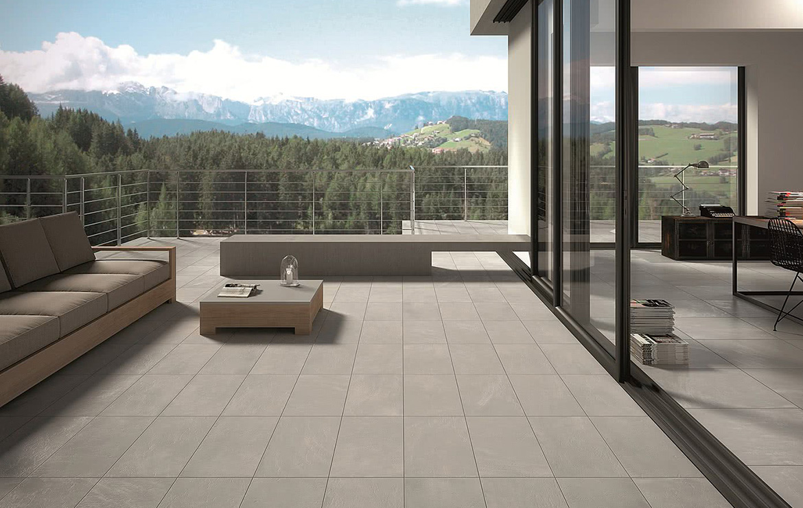 Balcony floor design with concrete look porcelain tiles - Uptown Morningside 45x90.