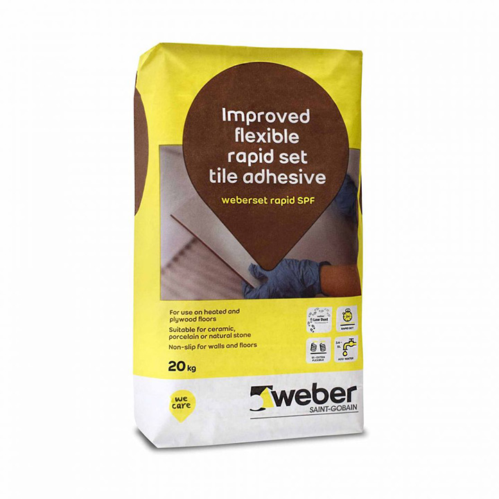Weber Ireland tile fixing solutions. Weberset Rapid SPF fast setting cement based tile adhesive.