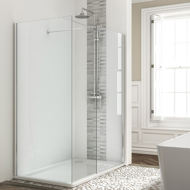 Wetroom front and side panels chrome