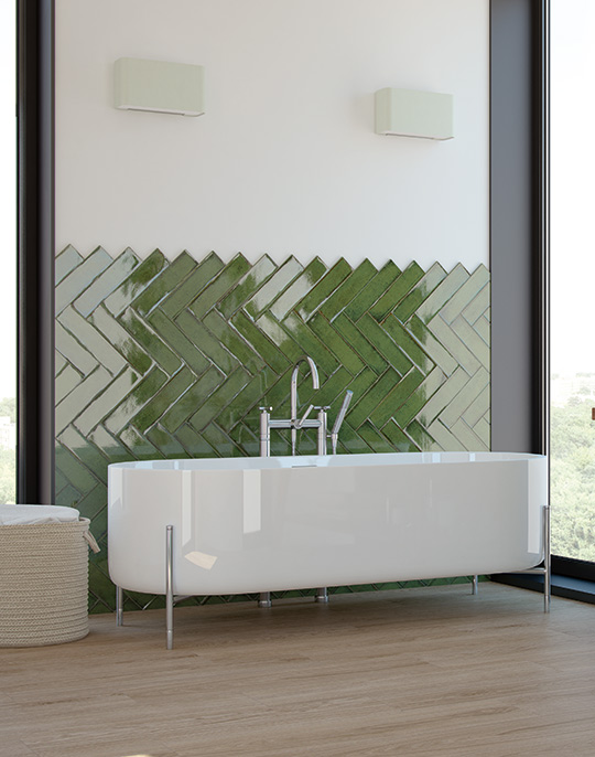 Alchimia 7x30. Coloured high gloss wall tiles. View collection.