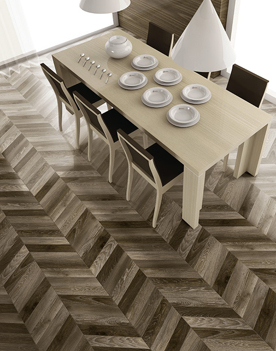 Arrow 8x40. Chevron wood look porcelain tiles. View collection