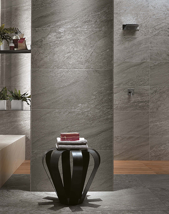 Brave structured stone look porcelain tiles for walls and floors. View collection.