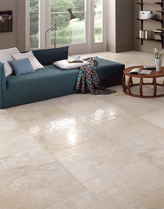 Chambord 60x90. Hammered stone effect semi-polished stone look porcelain floor tiles. View collection.