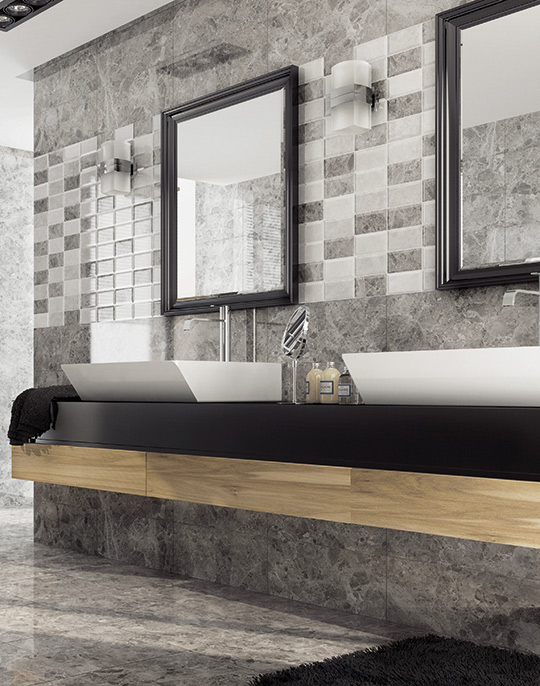 Compact marble look high gloss bathroom wall and floor tiles. View collection