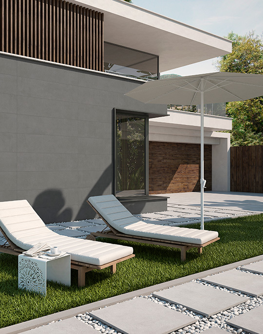 Core Extrem60x60. Stone look 20mm porcelain paving tiles for residential and commercial outdoor areas. View collection.